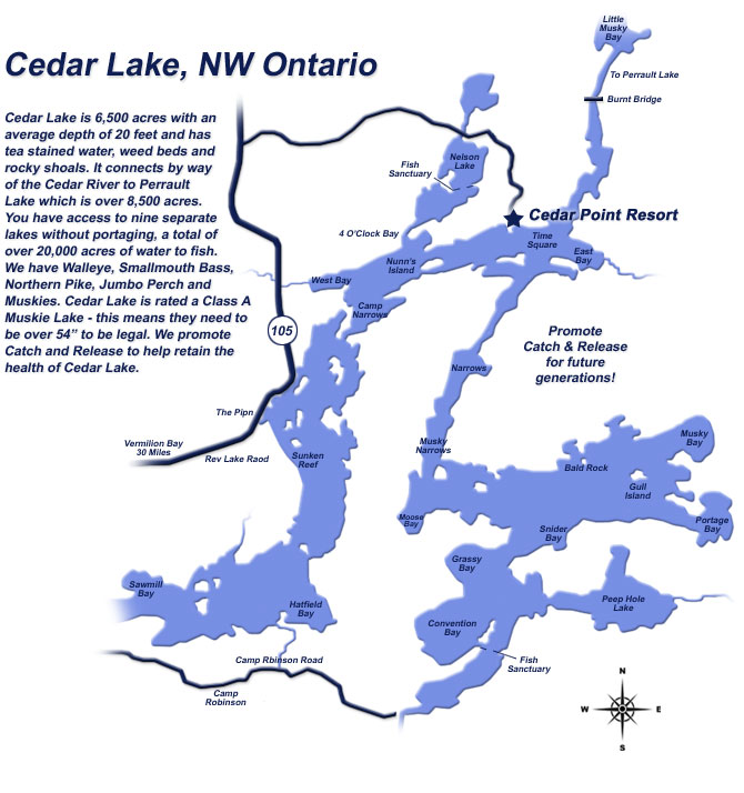 Onterio Canada Map.Cedar Lake Map Nortwest Ontario Known For Best Fishing In The Nw